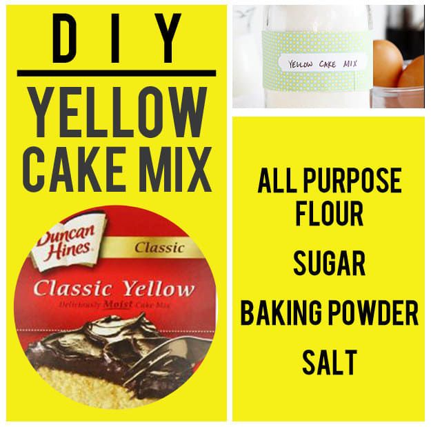 For moist yellow cake that looks just like the picture on the box you're not going to use, add this dry mix to butter, veggie oil, milk, vanilla, and eggs. Get the recipe.