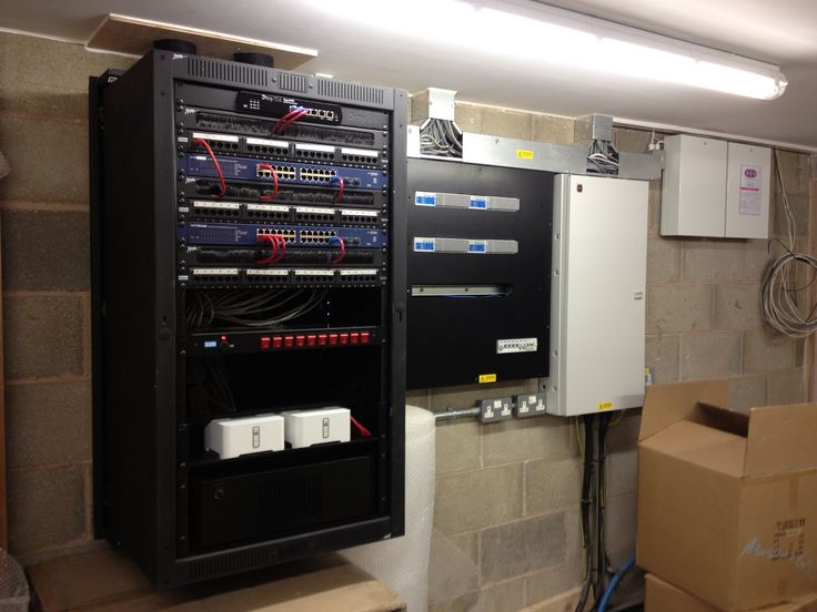 Wall mounted rack system with network and audio distribution.