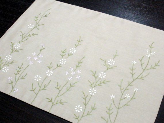 Flower Placemats, Linen Placemats Set of 4, Beige Linen White Pink Flower, Embroidered Fabric Placemat, Floral Table Linen, Table Top