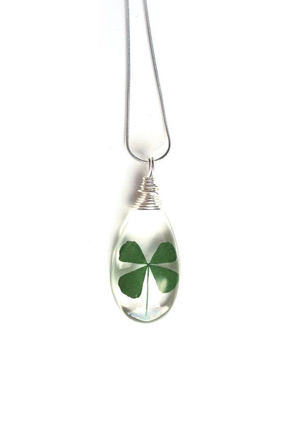 Real Four Leaf Clover Necklace - Real 4 Leaf Clover Encased in Resin - Pressed Flower Jewelry - Teardop Pendant - Wire Wrapped Pendant