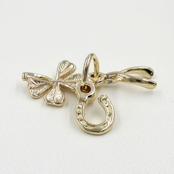 Four Leaf Clover Wishbone and Horseshoe Charm - chr-1282 Solid Gold | Sterling Silver