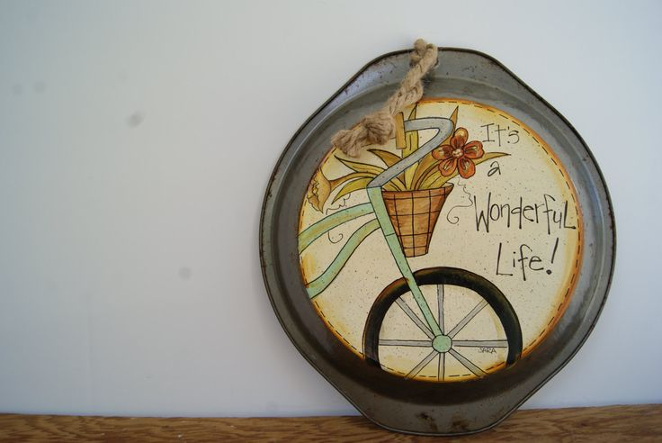 It's a wonderful life country kitchen decor, Hand painted rustic pie pan decoration, Bicycle decor, Country home decor pie pan, Cottage chic - pinned by pin4etsy.com