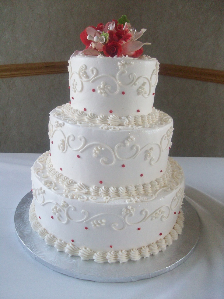 Calumet Bakery Wedding Cake With Ivory On White Scroll Work