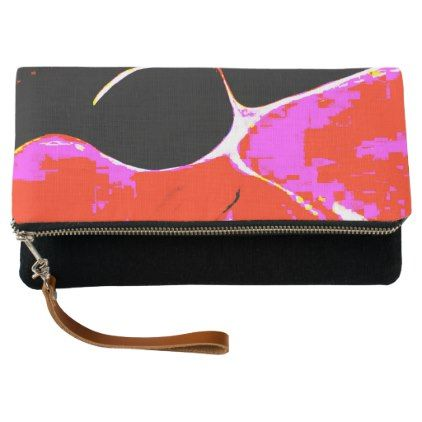 Red Black Pink Clutch Bag - patterns pattern special unique design gift idea diy