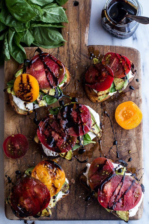 Grilled Caprese Toast- Burrata, Heirloom Tomatoes, Grilled Avocado, Balsamic, EVOO, Sea Salt, & Pepper
