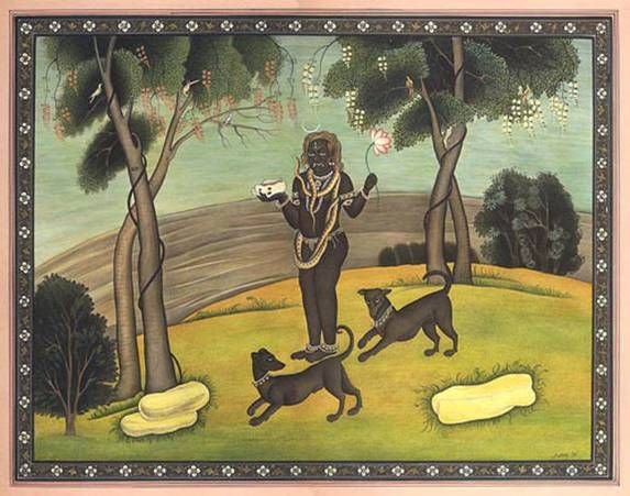 """Bhairava ( in sanscrito , """"tremendo, insopportabile"""") [1] a volte conosciuto come Kala Bhairava, è una divinità indù , una feroce manifestazione di Shiva associati con l'annientamento.raffiguratonudo tranne che per ghirlande di teschi e di un arrotolato serpente intorno al collo. Nelle sue quattro mani, egli porta un cappio , il tridente , tamburo , e del cranio. Egli è spesso mostrato accompagnato da un cane"""