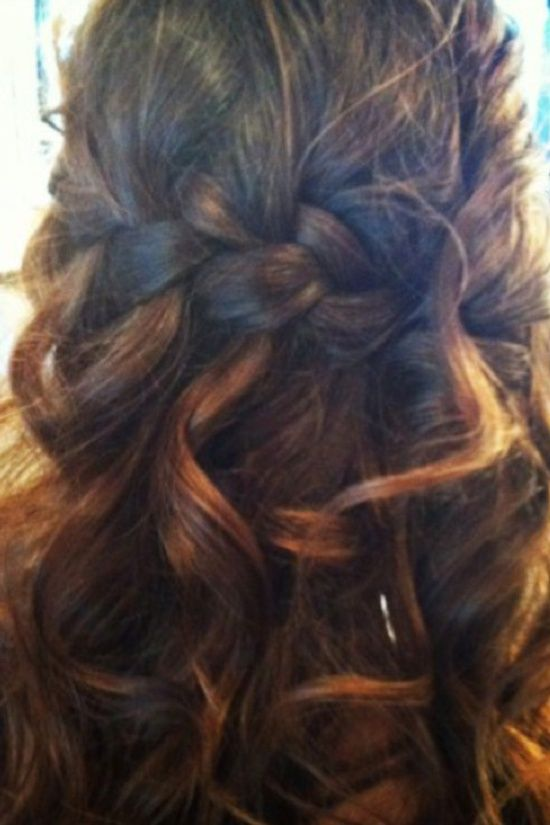 Half Braided hair style for long hair- wonderful for a wedding