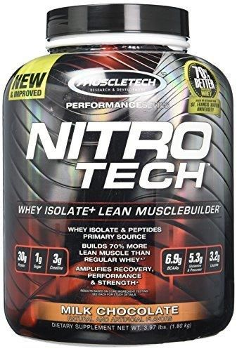 MuscleTech NitroTech Protein Powder Whey Isolate  Lean MuscleBuilder Milk Chocolate 3.97 lbs (1.80kg)