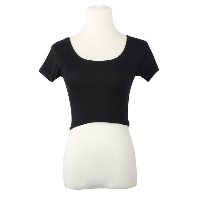 Manga corta atractiva mujeres básica camisetas Tops recortada camiseta Blusas blanco ropa mujer verano corto desgaste diario TONSEE