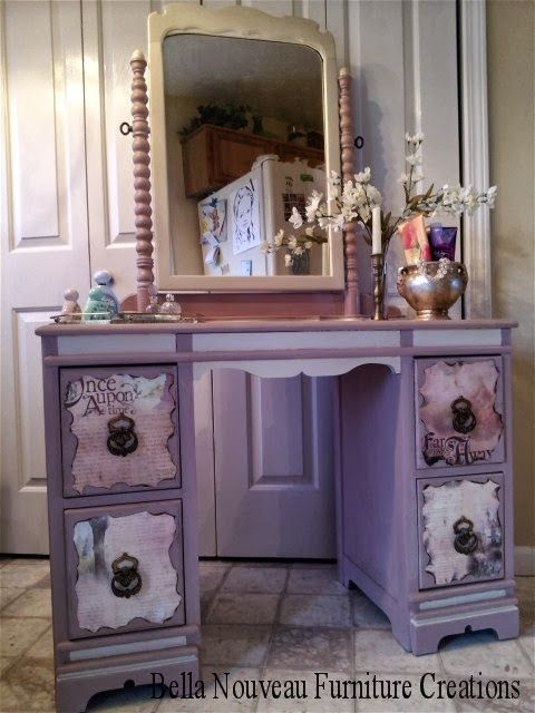 Want this beautiful painted vanity! <3 Once Upon A Time Vanity Makeover By Bella Nouveau Furniture Creations - Featured On Furniture Flippin'