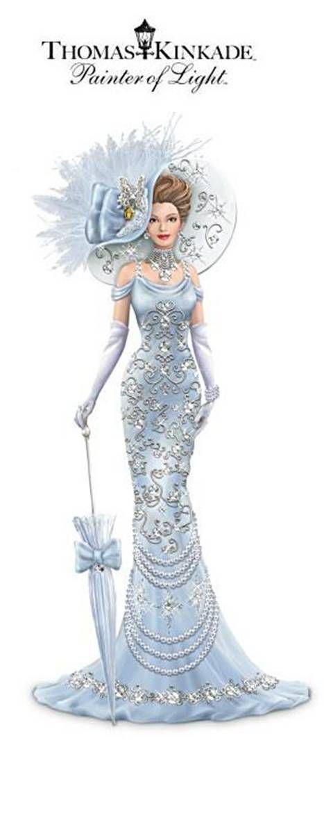 Thomas Kinkade Elegant Lady Figurine With Swarovski Crystals