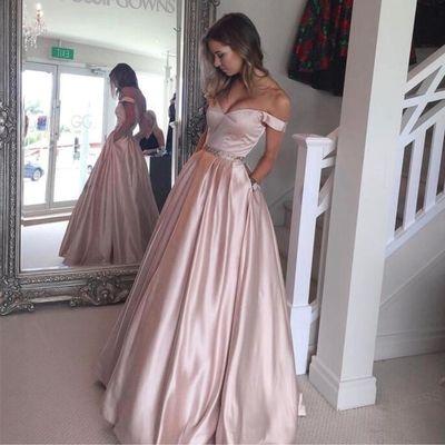 Charming A Line Off the Shoulder Light Pink Prom Dress,Beaded Waist Sweetheart Long Evening Dresses