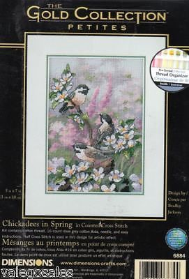 Dimensions Gold Counted Cross Stitch Kit Chickadees in Spring 06884 Sale | eBay