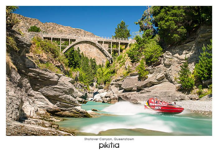 Postcard 'Shotover Canyon, Queenstown' which is found in Pikitia's high quality range of postcards