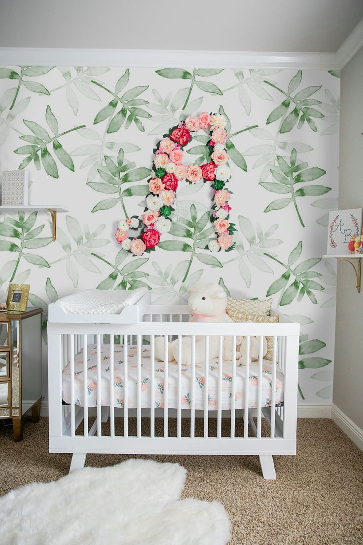 Pastel Leaves Removable Wallpaper Baby room decor