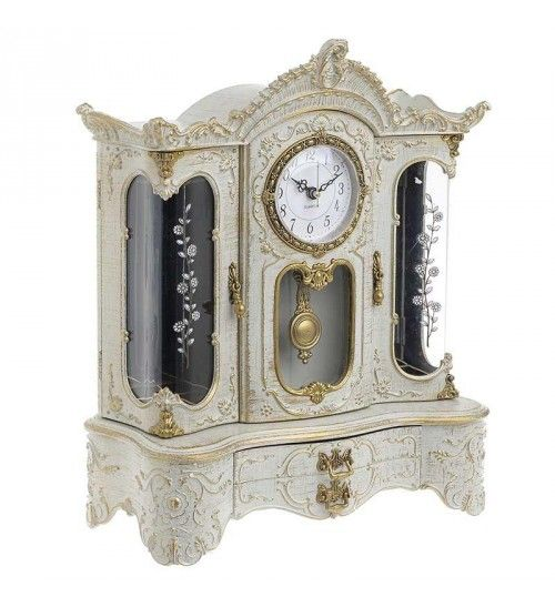 POLYRESIN MUSIC BOX_CLOCK W_MIRROR IN ANT WHITE COLOR 29X14_5X15