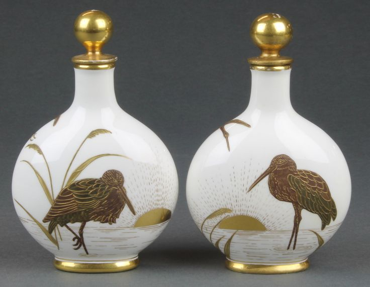"""Lot 2, A pair of Coalport secessionist style moon vases and stoppers decorated with heron 5"""", sold for £240"""