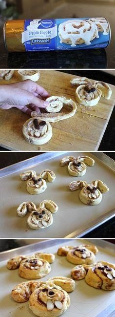 Such a cute Easter idea using cinnamon rolls!