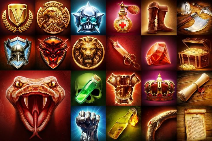 Badges , Items , Special Events icons, Lukasz Struk on ArtStation at https://www.artstation.com/artwork/bades-items-ivents-icons