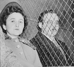 Ethel and Julius Rosenberg were American communist spies who were executed for giving the Soviet Union information about the atomic bomb. They were the first civilians executed for espionage in the US.