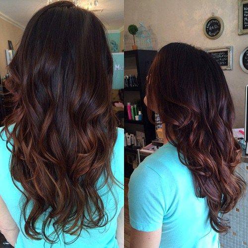 donker bruin haar met donkere kastanje highlights