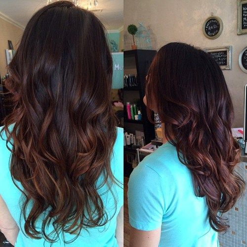 dark brown hair with dark chestnut highlights
