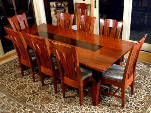 Dining Room Table And Chairs African Bubinga Wenge