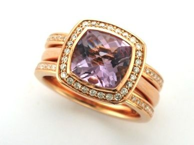 LAVANDE.  --       Exquisite Pastel Amethyst & Diamond Engagement Ringshown with Gazelle Partner Rings set with Accent Baby Diamonds   Custom made in 18ct Rose Gold.