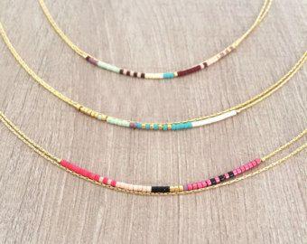Minimalist Gold Delicate Short Necklace with Tiny Beads // by Kurafuchi   Etsy