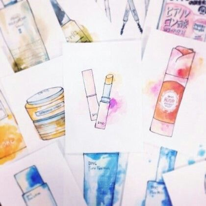[illustration] beauty illustration, water colour, cosmetic items