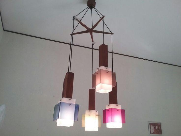 Stilnovo lampadario grande a 5 luci vintage & design '50 di Box900 su Etsy