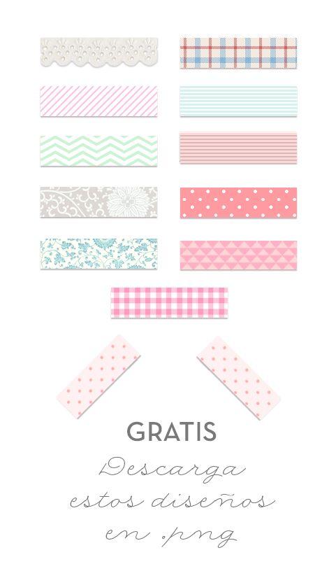 Washi tape para tu blog, 12 modelos. Puedes descargarlos gratis en Meisicursos #washitape #downlad #descarga #blog #diseño #free #gratis