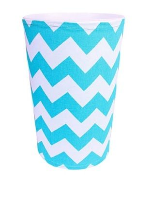 57% OFF Malabar Bay Chevron Canvas Wastebasket, Blue