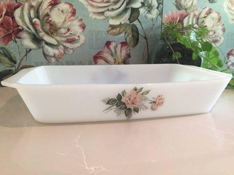 Vintage Arcopal 'Pink Rose' Baking Dish