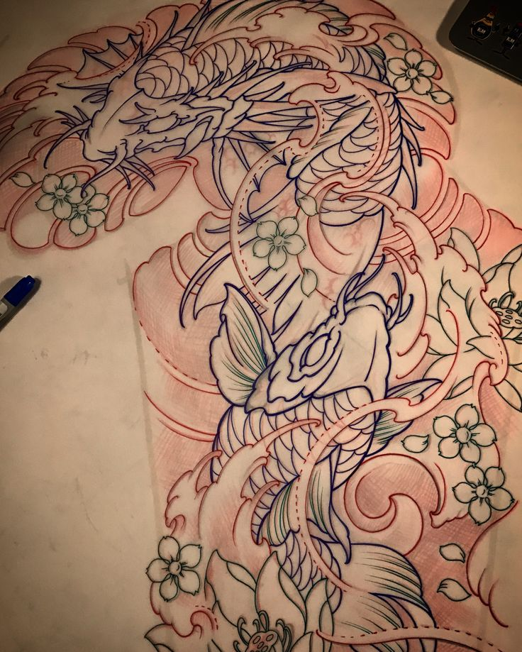 Amsterdam TATTOO 1825 KIMIHITO Koi Koidragon Full sleeve tattoo design. www.tattoo1825.com