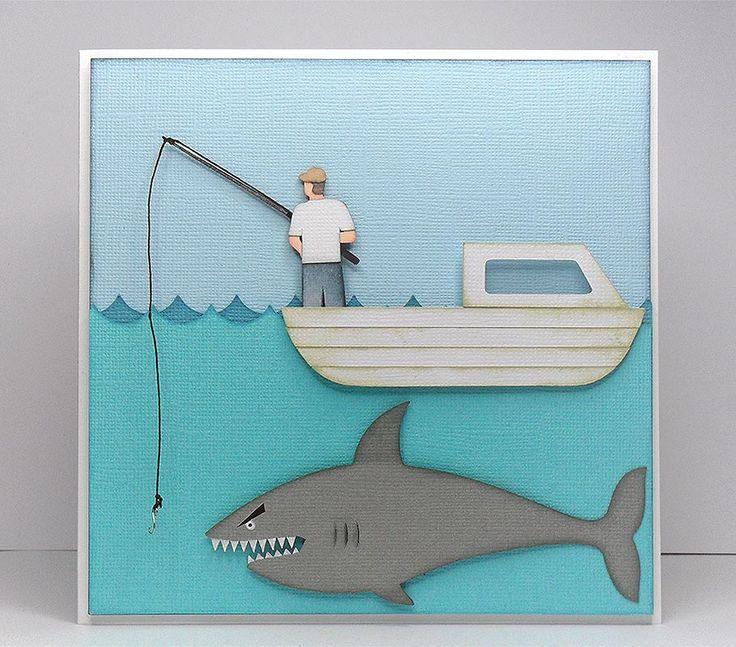 shark fishing card 1: Birds Cards, Bird Cards, Masculine Cards, Birthday Cards, Cards Masculine, Fishing Card, Card Making, Www Birdscards Com, Cards Men
