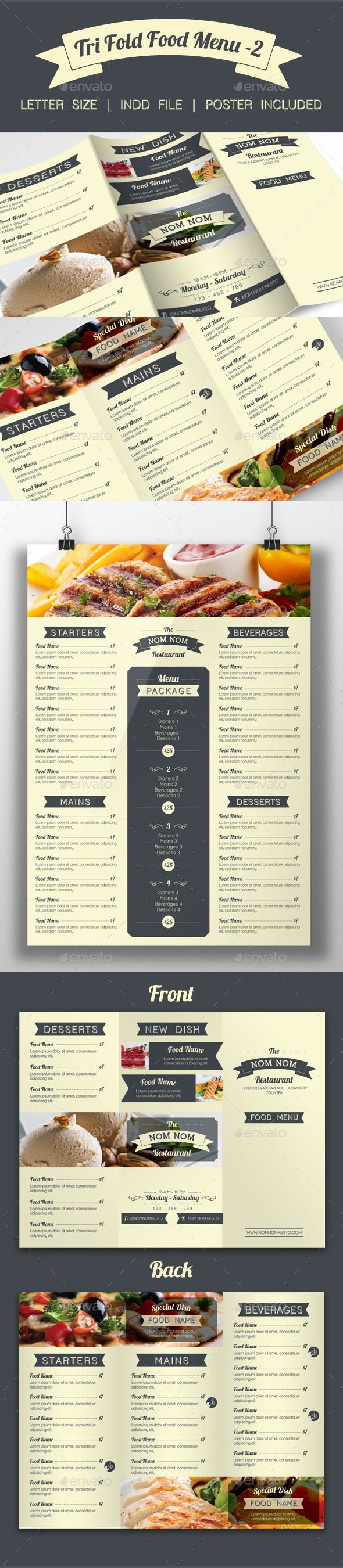 Tri Fold Food Menu  2 — InDesign INDD #letter #food • Available here → https://graphicriver.net/item/tri-fold-food-menu-2/9503920?ref=pxcr