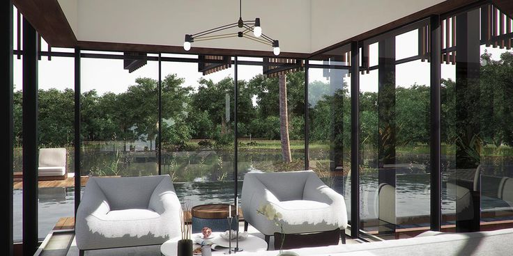 Interior view of the living room by the pool  Waikiki Waterscape Resort, Vengurla - Architecture BRIO, India  #stilted #pavilions #wetland #resort #indianarchitecture #ponds #architecture #rendering #infinitypool