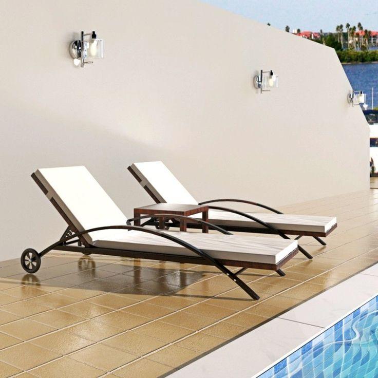 Rattan Sun Bed Set Patio Outdoor Recliner Coffee Table Chair Cushion Wheels  3pc