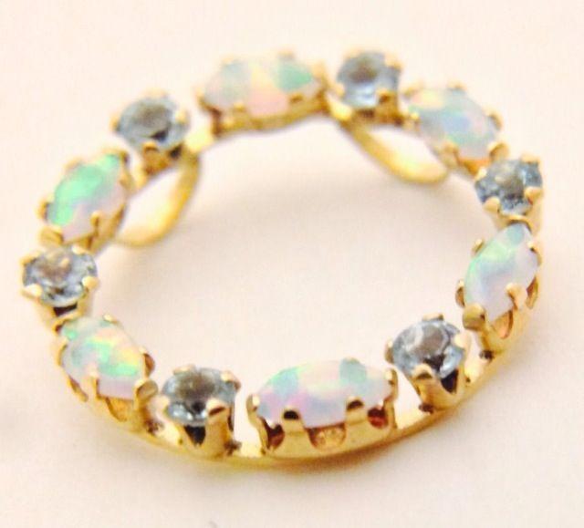 Stunning 10k Yellow Gold Australian Opal & Aquamarine Pendant
