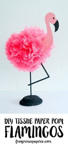 Follow the flamingo party trend and turn tissue poms into pink flamingos for party decor! These make great centerpieces or wall hangings and only take minutes to make. | Tropical DIY