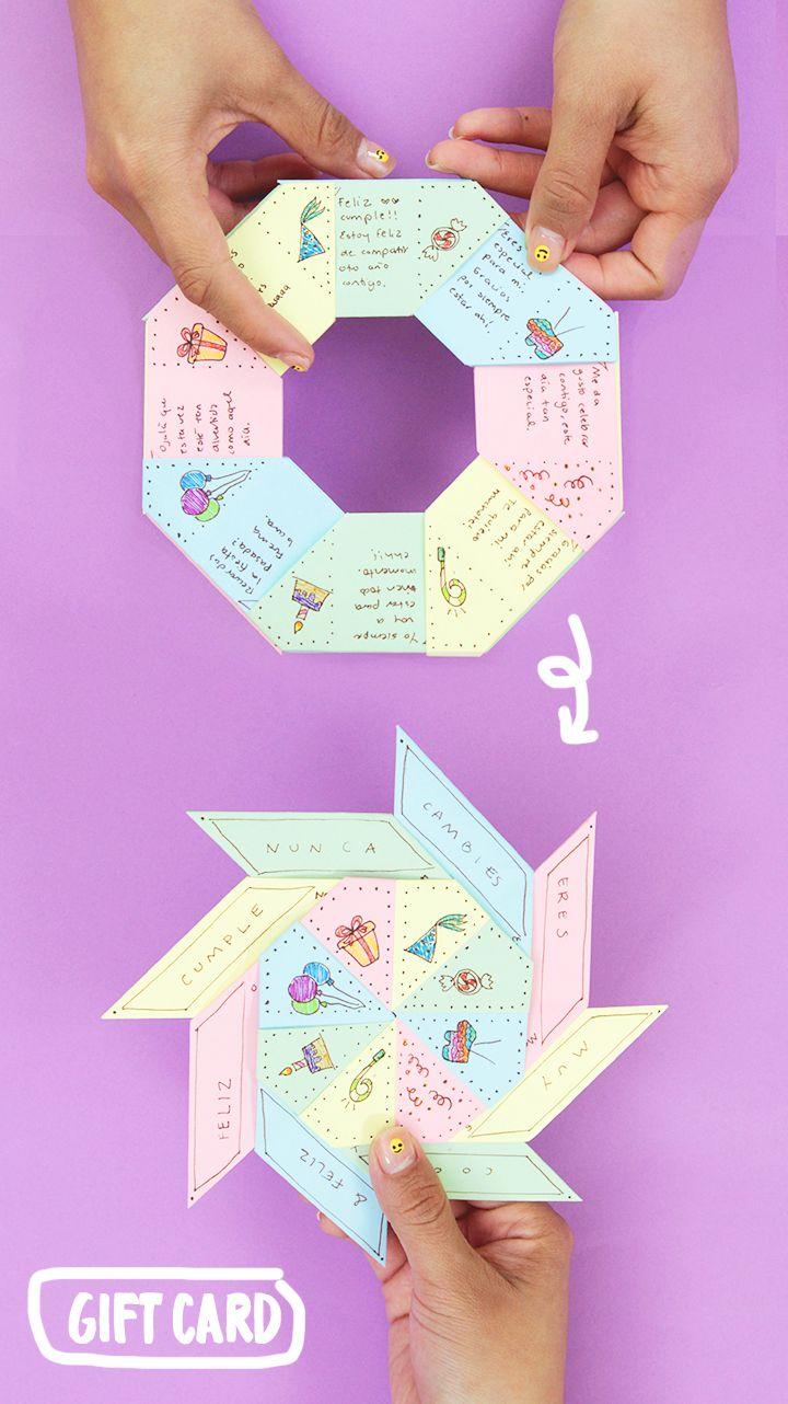 Como Hacer Una Carta Hecha Con Hojas De Colores Con Un Mensaje Secreto How To Make A Letter Wi Manualidades Regalos De Cumpleanos Creativos Regalos Creativos