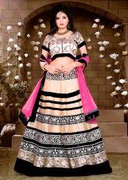 Wedding Wear Banglori Silk Beige Heavy Embroidery Work Lehenga Choli