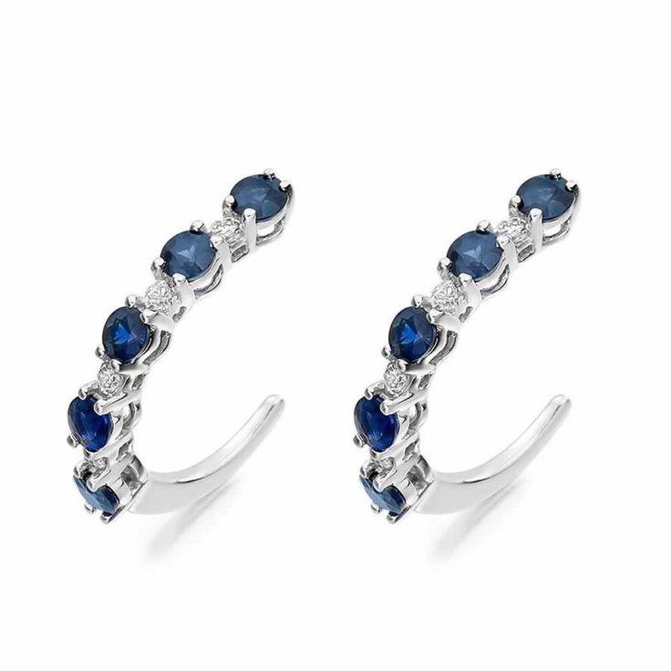 Sapphire and Diamond Hoop Earrings in 18K White Gold | The Diamond Channel, Johannesburg