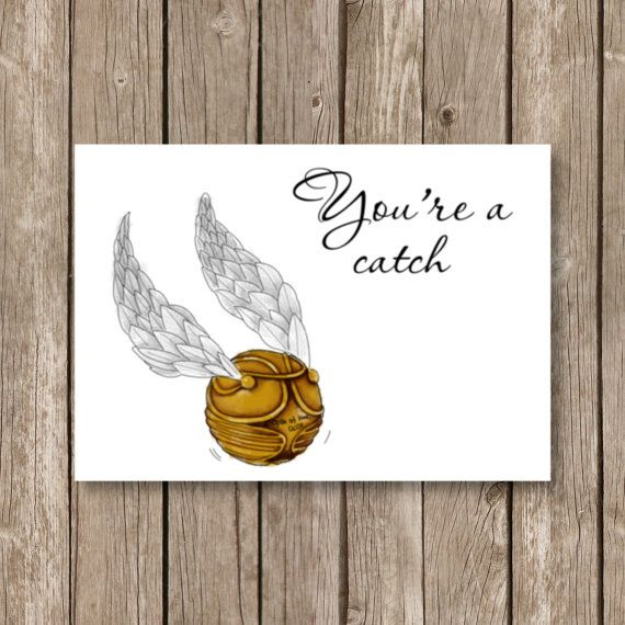 printable valentine card, Harry Potter, snitch, you're a catch, quidditch, watercolor technique, computer design