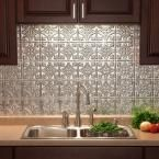 Fasade 24 in. x 18 in. Traditional 1 PVC Decorative Backsplash Panel in Brushed Aluminum B50-08 at The Home Depot - Mobile