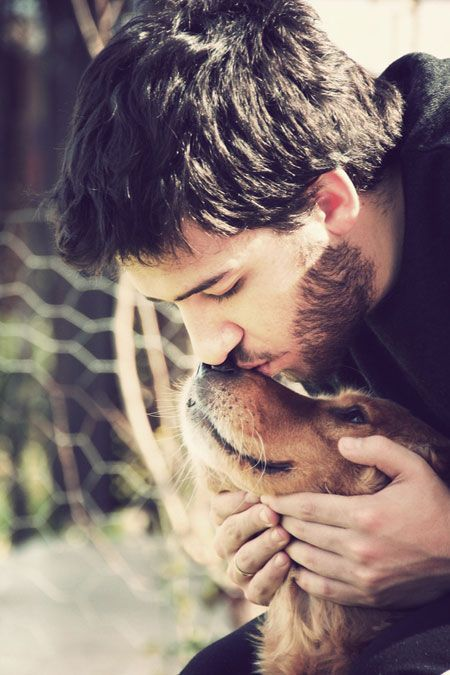 """Great photo of man and his dog. Really capturing that """"man's best friend"""" moment."""