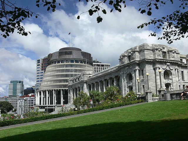 Beehive and Parliament house, Wellington, New Zealand by Lens_Flare, via Flickr
