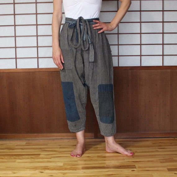 Monpe, Vintage Noragi Japanese Farmer's Pant, Kasuri Striped Cotton Pants, Japanese Boro Patched Pants, Work Wear, Streetwear, Free Shipping