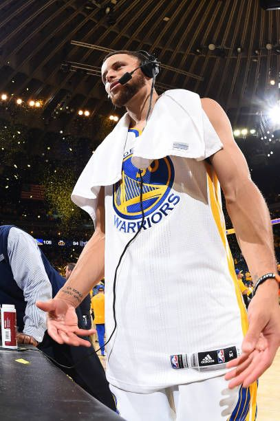 Stephen Curry of the Golden State Warriors is interviewed after Game One of the Western Conference Semifinals of the 2017 NBA Playoffs on May 2 2017...